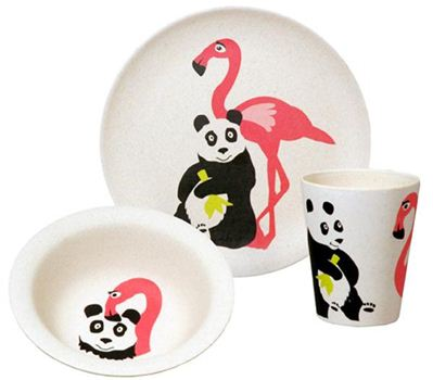 zuperzozial flamingo kinderservies