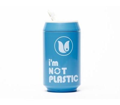 thermosfles blikje blauw bioplastic bpa vrij
