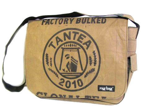 Ragbag fairtrade laptoptas van gebruikte theezakken